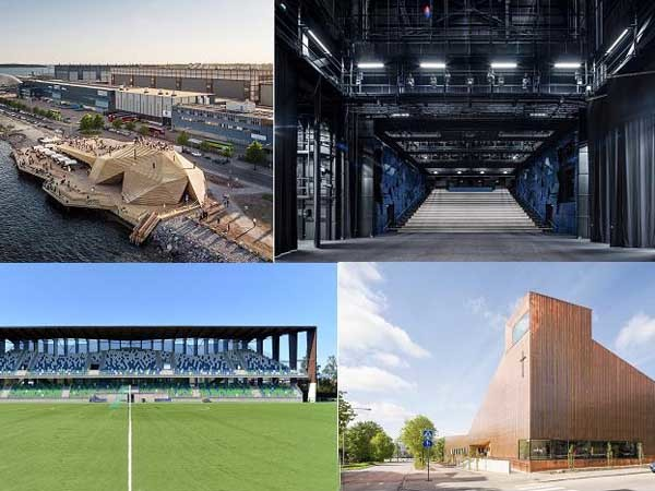 Clockwise from left: Löyly, Lappeenranta City Theatre, Suvela Chapel and Rovaniemi Sports Arena