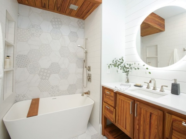 Patchwork bathroom feature wall