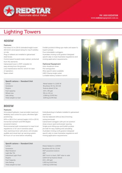 Ligthing Towers 4000W. 8000W