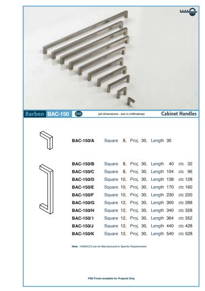 BAC-150 Cabinet Handle Specifications