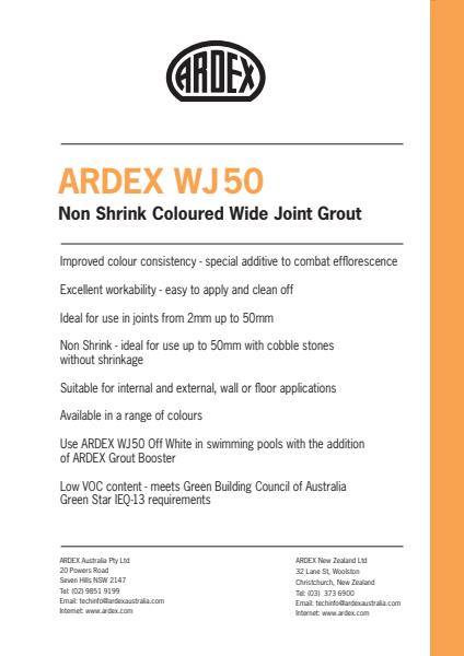 ARDEX WJ 50 Non Shrink Coloured Wide Joint Grout 5 to 50mm