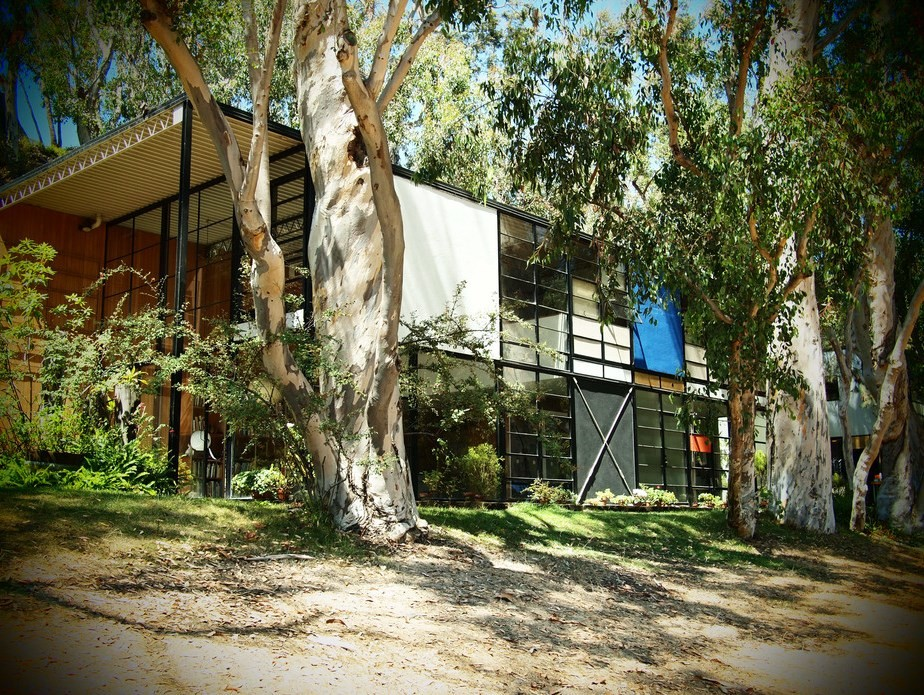 The Eames house is tucked into its natural surrounds. Lauren Manning/Flickr, CC BY-SA