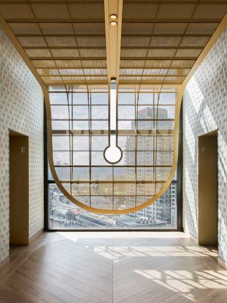 Gold Ceiling Feature At Pwc Sydney Office Built With