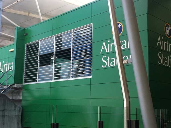 The Airtrain station building at Brisbane Airport featuring Safetyline Jalousie louvre windows