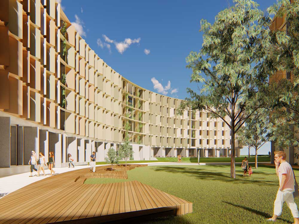 Render of the upcoming student accommodation at La Trobe's Melbourne campus