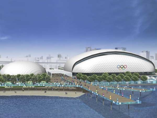 The Olympics Aquatic Centre in the Yumenoshima district