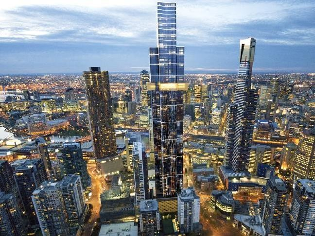 Melbourne's Prima Pearl (left), the proposed Australia 108 (middle) and the Eureka tower (right). Picture: An artist's impression of Australia 108