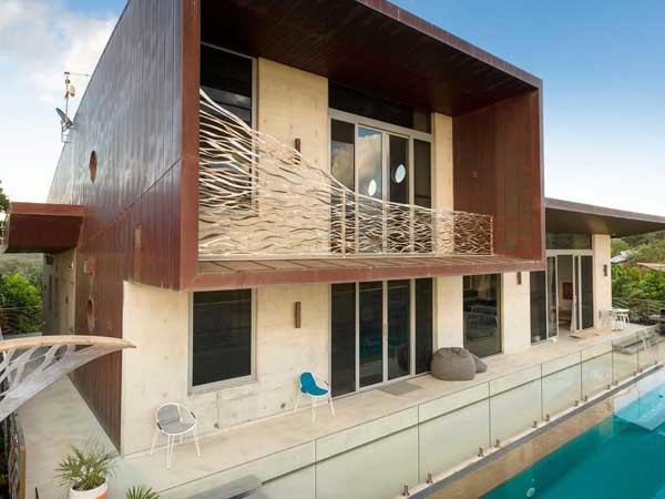 The Byron Bay residence featuring a copper roof and facade