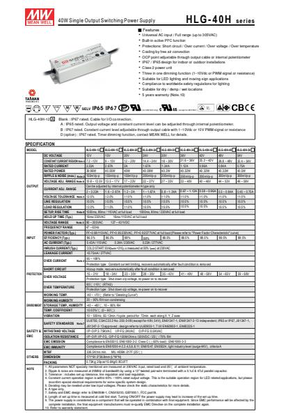 HLG-40HSpecification Sheet