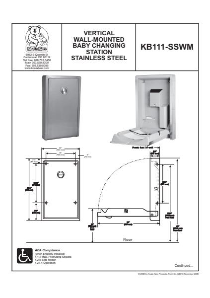 Stainless Steel Vertical Wall Mounted Baby Changing Station