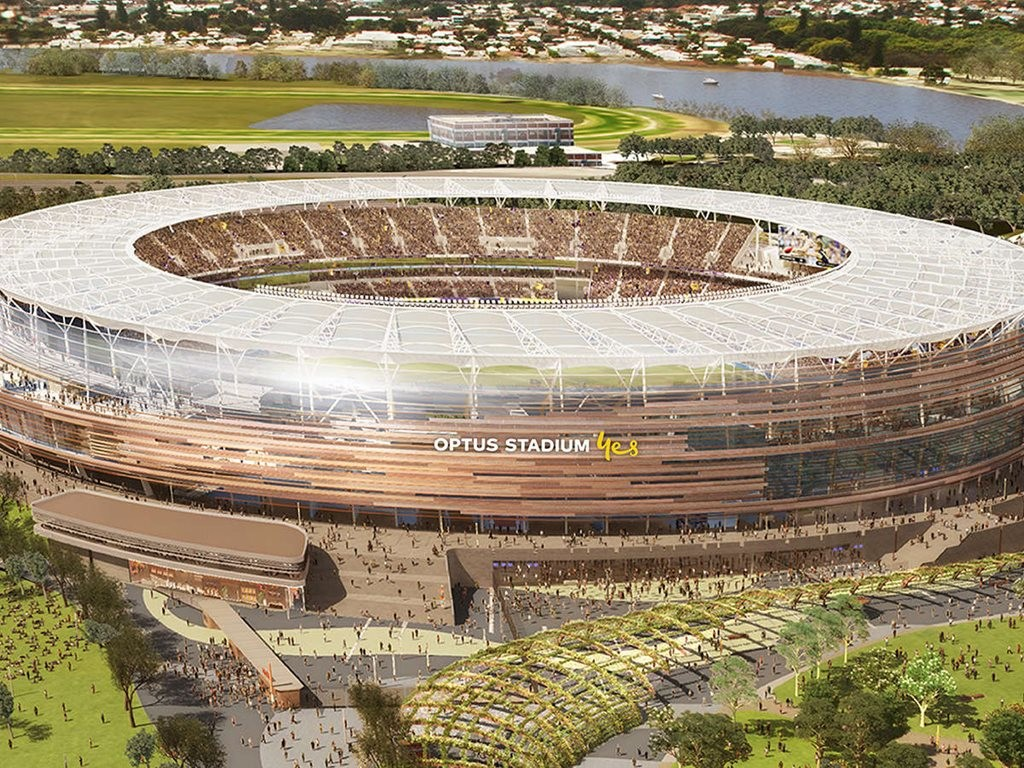 "The Western Australian government-owned Perth Optus Stadium, began construction in December 2013 and remains on schedule to open this Sunday, 21 January 2018.""  Image: Optus"