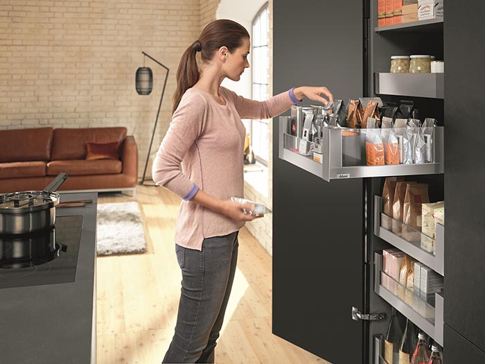Blum space tower ultimate pantry storage solution in residential interior