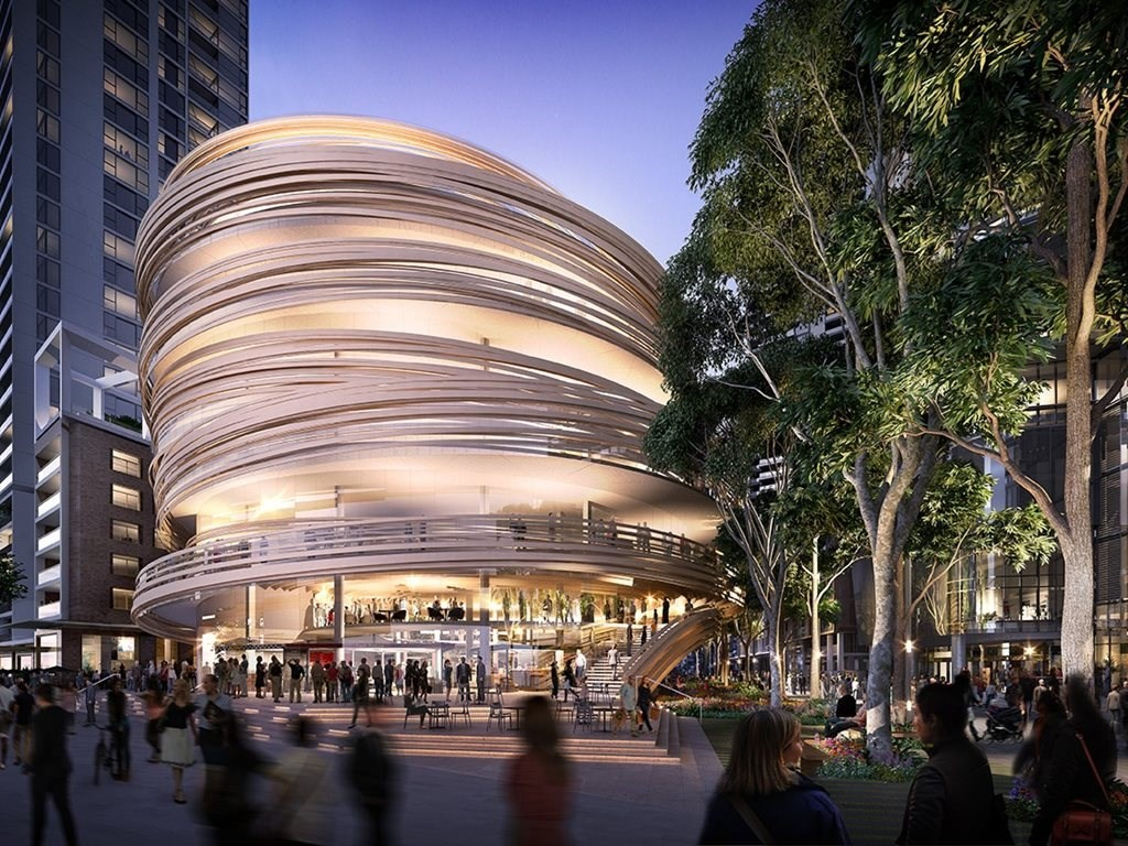 Kengo Kuma's first Australian project is set to become one of the major pieces of the $3.4 billion transformation of Sydney's Darling Harbour. Image: Aspect Studios