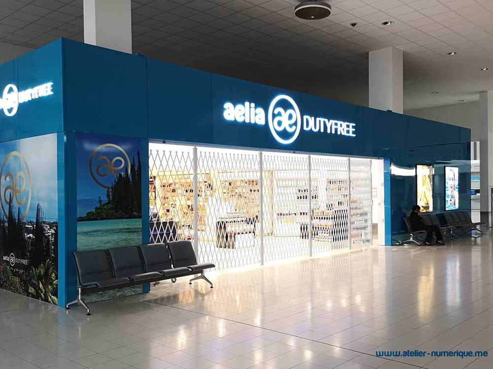 ATDC's folding security shutters at Aelia Duty Free