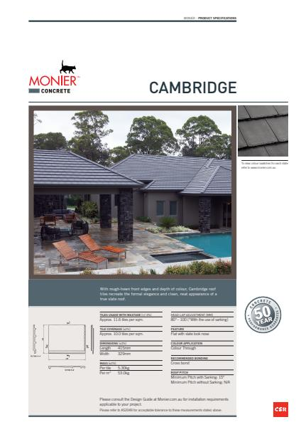 Monier Cambridge Data Sheet