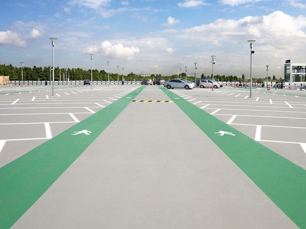 Polyurethane Methacrylate came about due to some of the limitations of epoxies and urethane, specifically insufficient elastomeric or stretchy properties and their ability to be applied in varying temperature ranges. These benefits make them perfect for carparks. Image: Equus