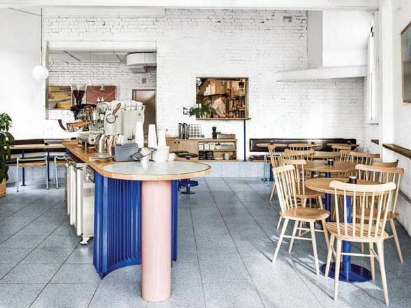 Mammoth café: Seascape terrazzo tiles are the perfect complement to the space