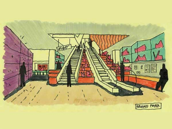 Ground foyer concept sketch for Koorie Heritage Trust. Project by Lyons and IADV
