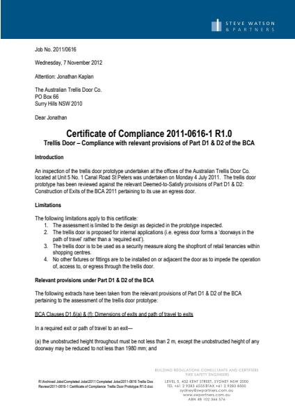 Updated Certificate of Compliance