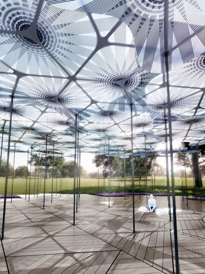 MPavilion 2015 will see the return of MTalks, MMeets, MMusic, films and gatherings exploring architecture, landscape and design. Render by AL_A