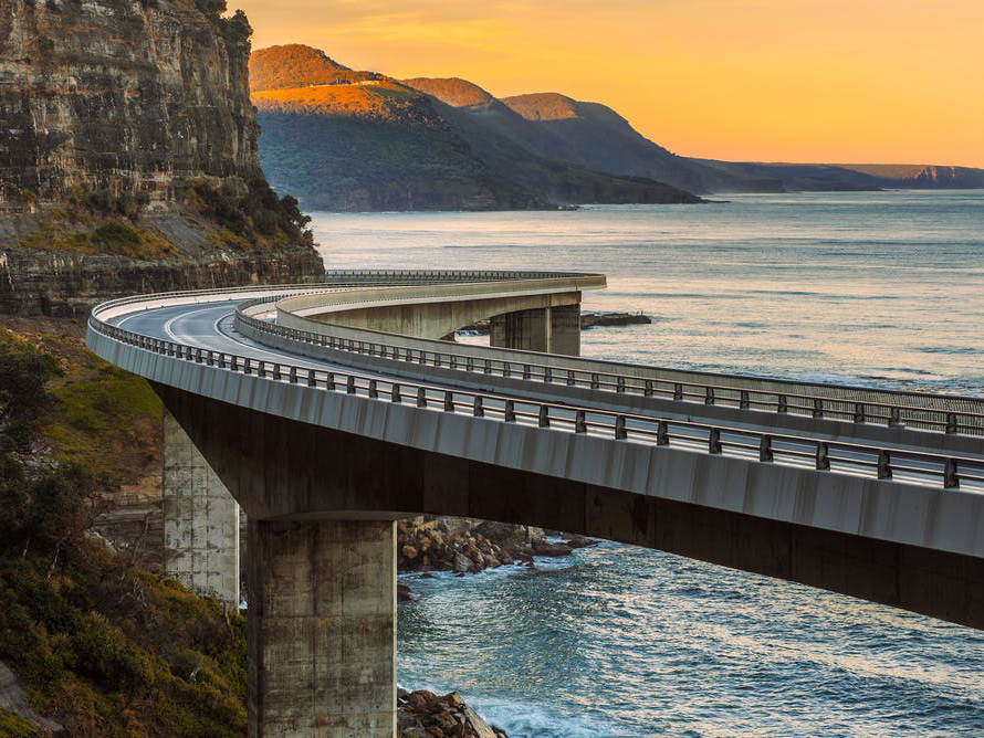 There are more than 50,000 public bridges in Australia. (The Sea Cliff bridge is one Australia's newer bridges, built in 2005). from shutterstock.com