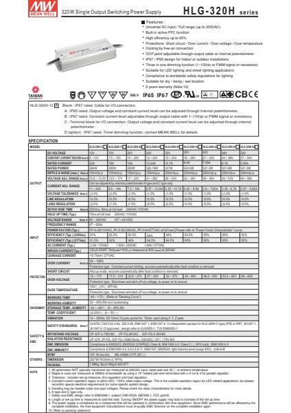 HLG-320HSpecification Sheet