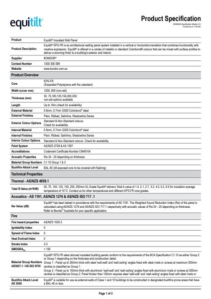 Spec Sheet Equitilt