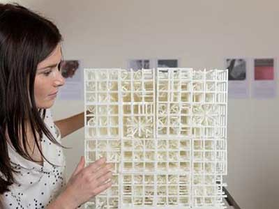 Harriet Kensell, University of Sydney Master of Architecture student, with her work Amorphe: Ghosting showing at the 2016 Venice Architecture Biennale