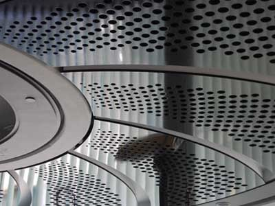 Perforated MRMDF panels were used to create a series of five fan blades in the Sovereign Room at The Star NSW