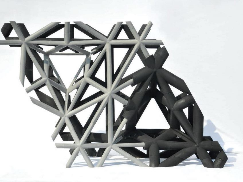 A recent project by Thibault Schwartz: 'Studies in Recursive Lattices' used elaboration of 3D modelling algorithms to manipulate tridimensional networks of structural segments. Image: Thibault Schwartz