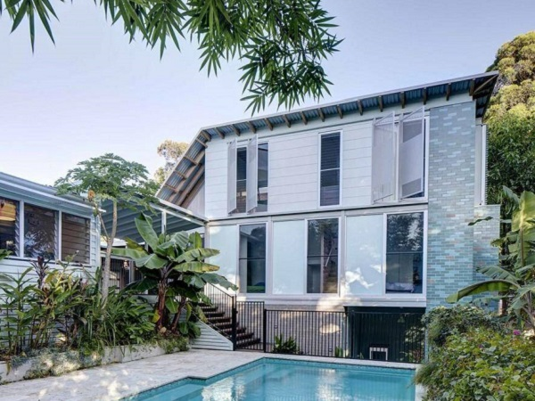 weatherboard and brick house