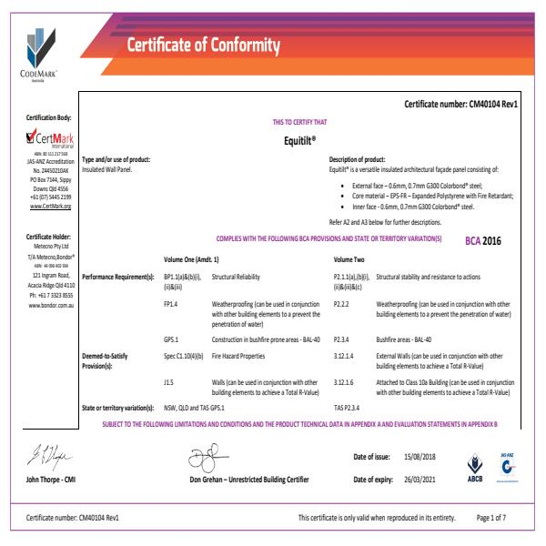 CodeMark Certificate of Conformity Equitilt