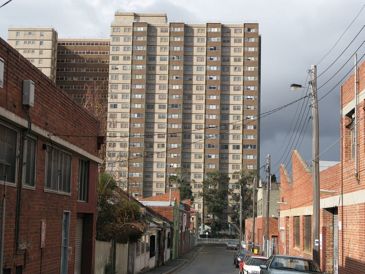 According to a recent new Deakin University study, family-friendly design guidelines for apartment buildings must be introduced in order to promote the health of the growing number of children being raised in Melbourne's high-rise apartments. Image: A Housing Commission high rise building in Collingwood. Image by Nick Carson at English Wikipedia via Wikimedia Commons/RMIT