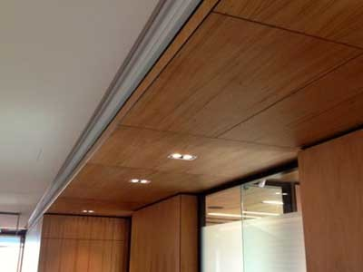Ultraflex's concealed fixed timber ceiling panels at the Optus office