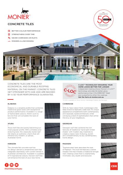 Monier Roofing Concrete tile flyer