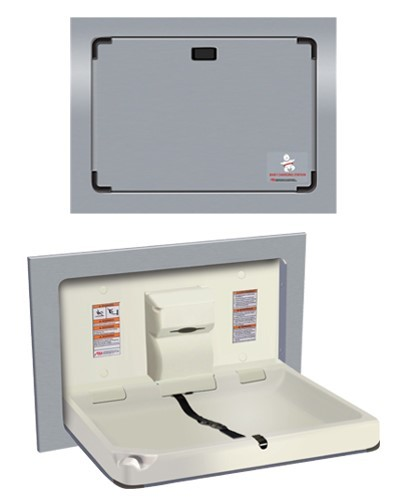 Baby change station parallel stainless steel clad recessed
