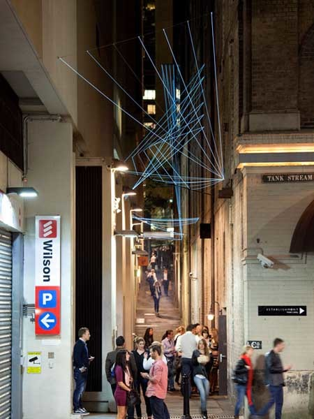 The catenary lighting installation at Abercrombie Lane
