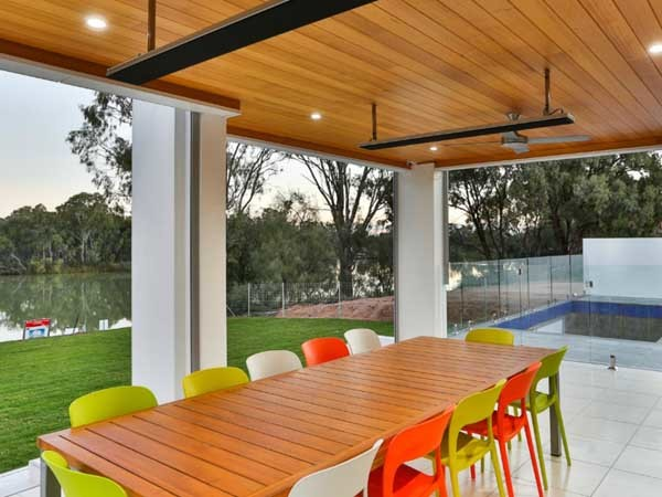The alfresco area of the Murray River home featuring Heatstrip Classic heaters
