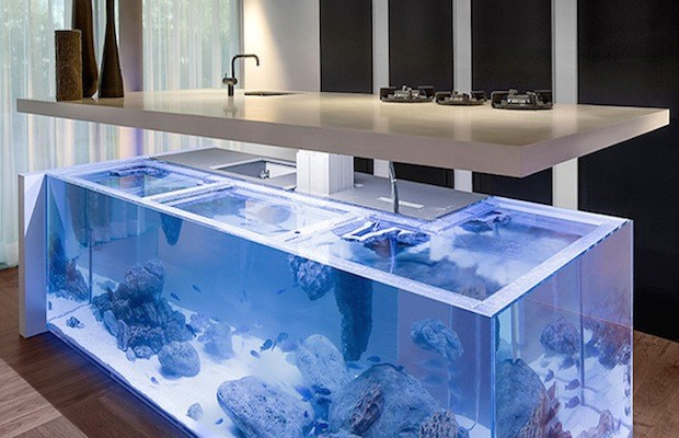 Modern kitchen island doubles as spectacular fish tank ...