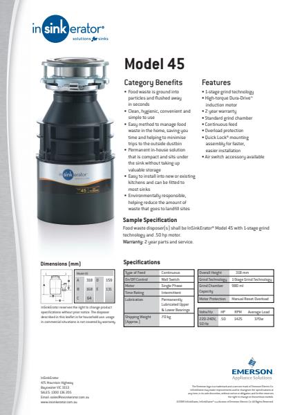 Model 45 Technical Specification