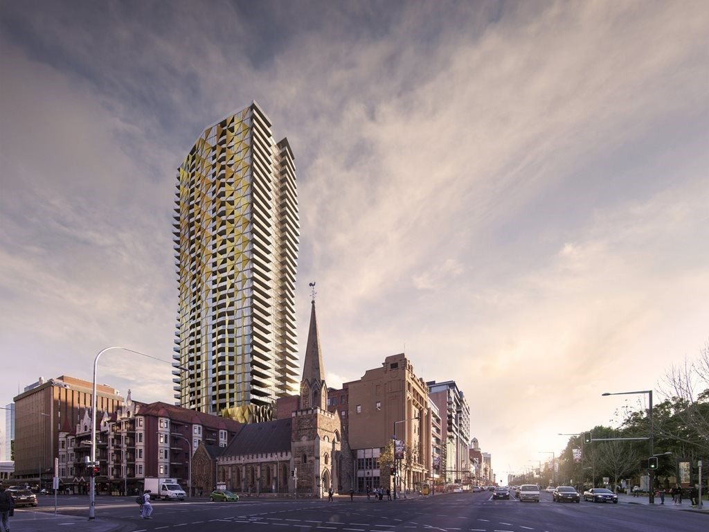 The 132-metre high Realm Adelaide is being built by Maxcon Constructions in Adelaide CBD's east end