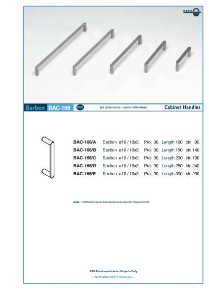 BAC-166 Cabinet Handle Specifications