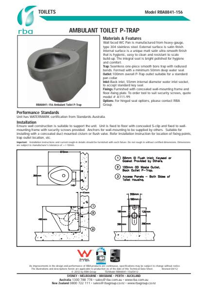 Ambulant Toilet With P-Trap