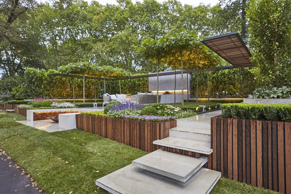 Landscape architect wins melbourne show garden gold medal with living pergola creation - Critical elements for a backyard landscaping ...