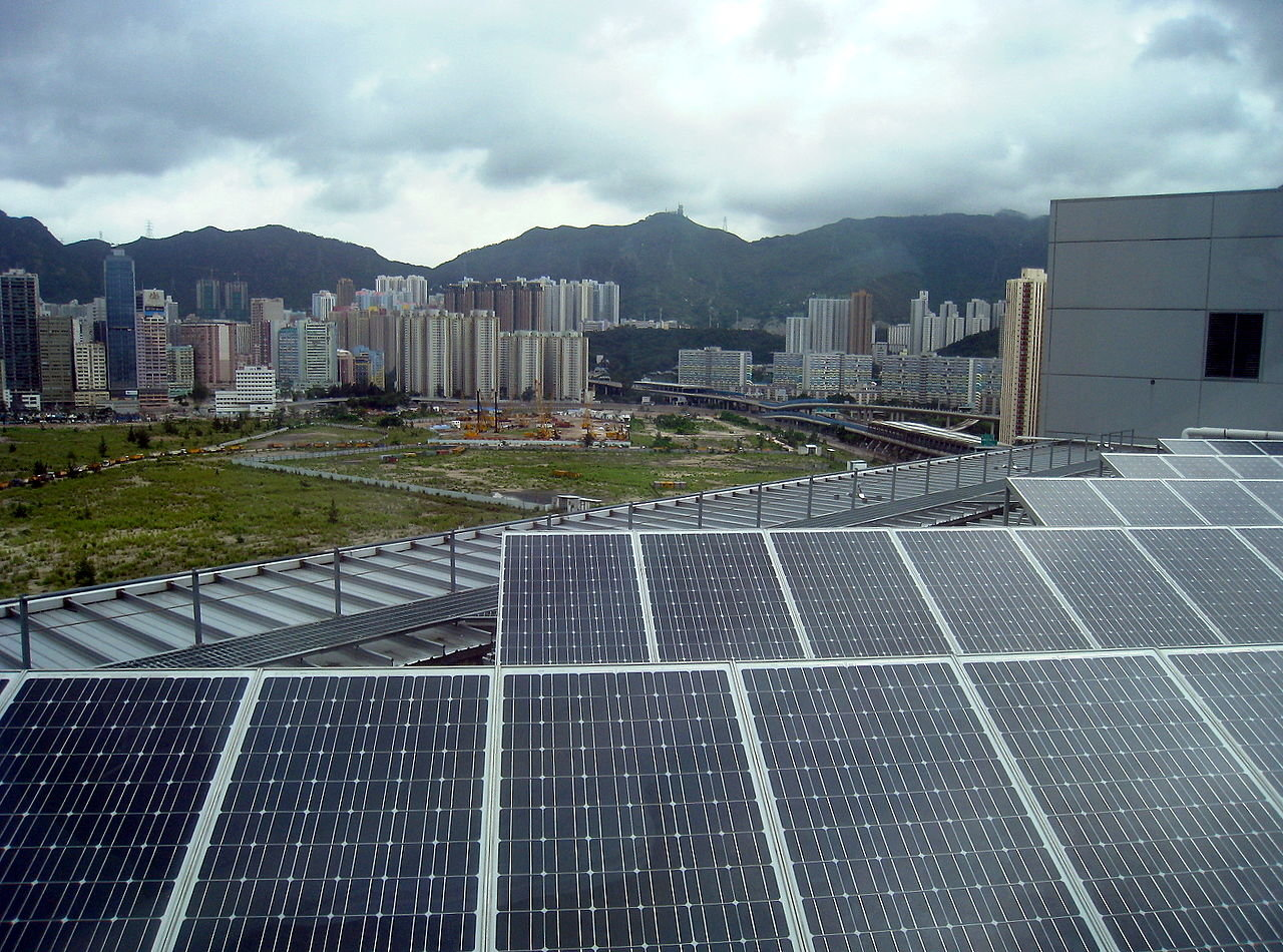 Residents near big solar projects are often concerned they cause glare and noise. Image: Electrical and Mechanical Services Department Headquarters rooftop solar, Hong Kong/Wikimedia Commons