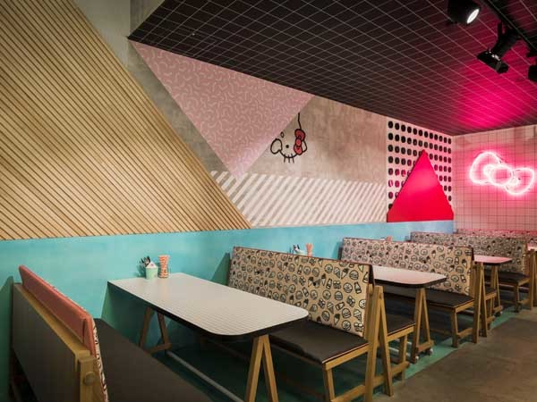 Feature wall created at Hello Kitty Diner in Sydney with Glosswood