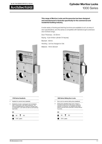 Mortice lock brochure