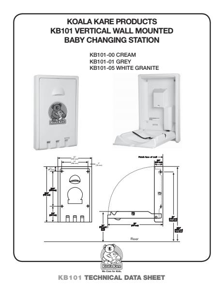 Vertical Wall Mounted Baby Changing Station