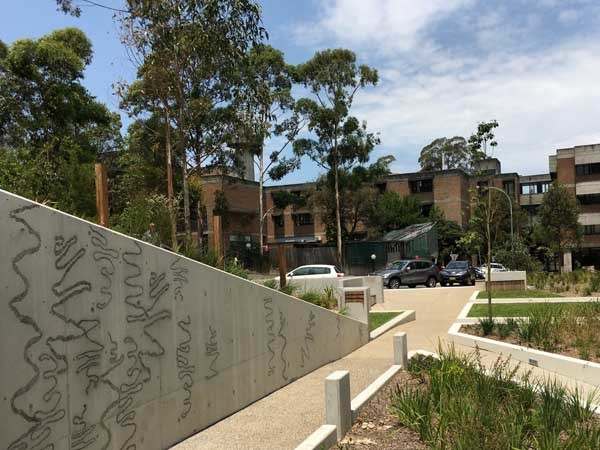 Public art by Aboriginal artist Jason Wing at Dunstan Grove - inspired by iconic scribbly gums in Lane Cove National Park