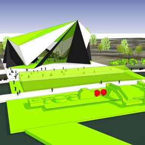 Floating concert pontoon and BMX track imagined for ACT's Lake